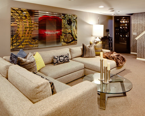 Eclectic Carpeted Family Room Idea In Minneapolis