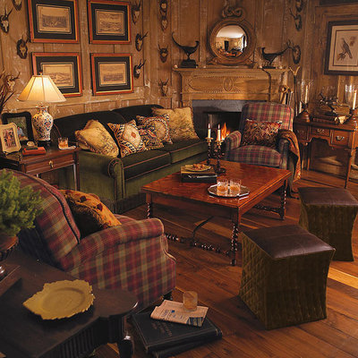 Traditional Family Room Traditional cabin. Warm and Cozy Wildlife and Hunt Themed Inspired Rooms