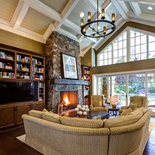 Inspiration For A Large Timeless Open Concept Dark Wood Floor And Brown Family Room Remodel