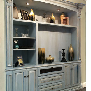 Traditional Distressed Finish Built-in Cabinet
