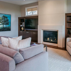 Transitional Family Room by Halex Architecture