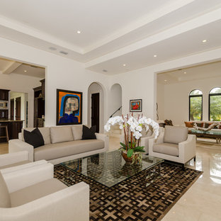 Family room - traditional open concept family room idea in Miami with white walls