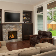 traditional media room by CJ's Home Decor & Fireplaces