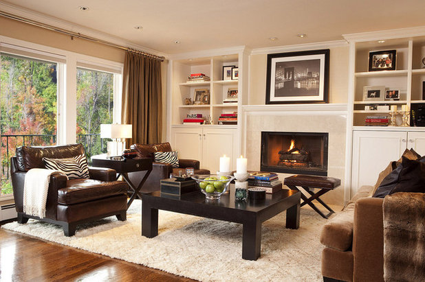 How to mix wood furniture finishes - Mixing leather and fabric living room ...
