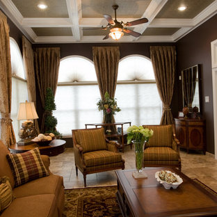 Example of a classic family room design in Newark