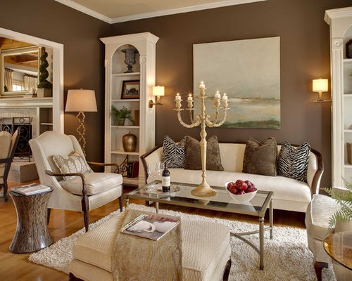 Living room paint color houzz for Brown colors for walls
