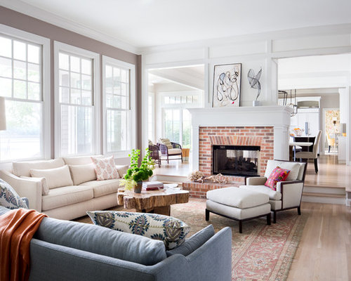 Fireplace In Middle Room Home Design Ideas Pictures