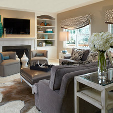 eclectic family room by Susan Brunstrum of SWEET PEAS DESIGN INC