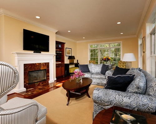 Example Of A Classic Family Room Design In DC Metro With Yellow Walls Part 89