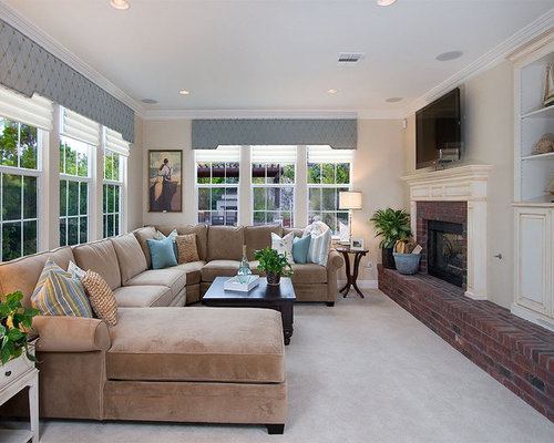 Traditional Family Room Idea In San Diego With A Brick Fireplace Part 44