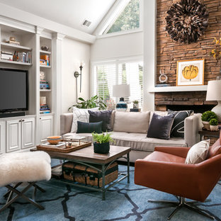 Family Room Traditional Dark Wood Floor And Brown Idea In Atlanta With