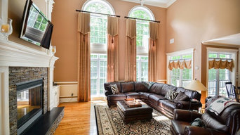 Traditional Family Room with Cathedral Ceiling