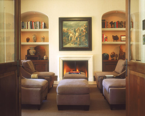 Example Of A Classic Family Room Design In San Diego With Beige Walls And Standard