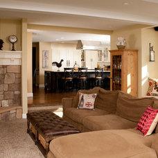Farmhouse Family Room by Hill Custom Homes