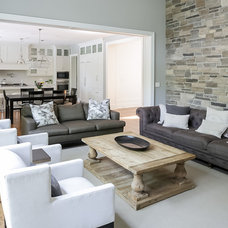 Transitional Family Room by David Small Designs