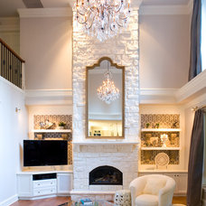 Transitional Family Room by Andrea Rodman Interiors