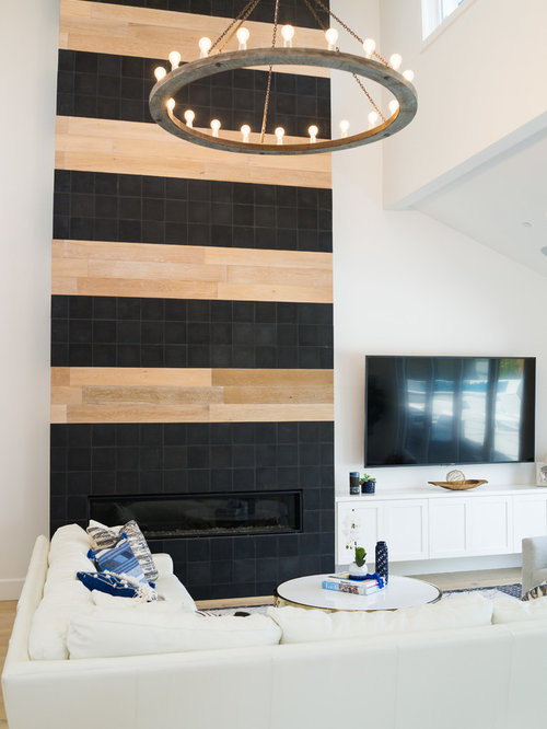 Example Of A Mid Sized Transitional Open Concept Family Room Design In  Orange County With