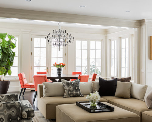 Inspiration For A Transitional Family Room Remodel In Boston With Beige  Walls