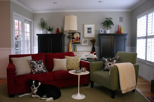 Transitional Family Room by Fiorella Design