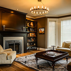 Transitional Family Room by Joshua Lawrence Studios INC