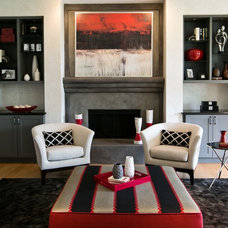 Transitional Family Room by Robin Gonzales Interiors
