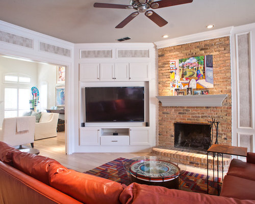 Living Room Ideas With Brick Fireplace And Tv built in corner tv | houzz