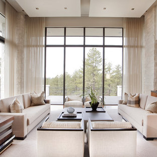 Example of a transitional open concept family room design in Denver with beige walls, no fireplace and no tv