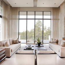 Transitional Family Room by Corylea Interiors