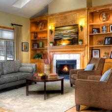 Transitional Family Room by Suzan J Designs - Decorating Den Interiors