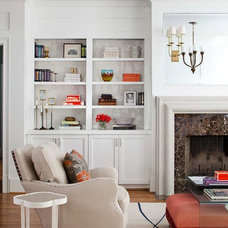Transitional Family Room by TerraCotta Studio