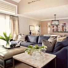 Living Room Centered Around Navy Indigo Blue Couch