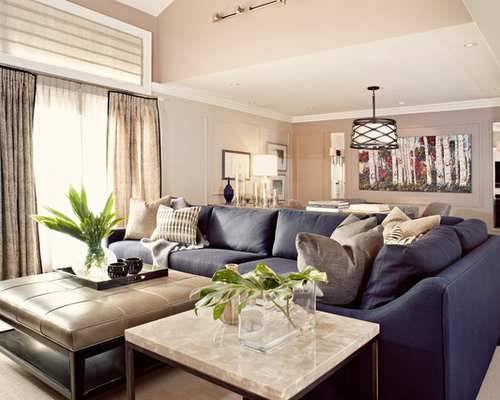 Example Of A Transitional Family Room Design In Toronto With Gray Walls