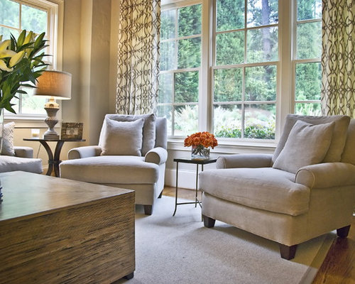 Transitional Medium Tone Wood Floor Family Room Idea In Atlanta With Beige Walls