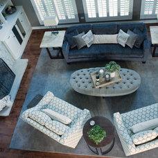 Transitional Family Room by VARA Design