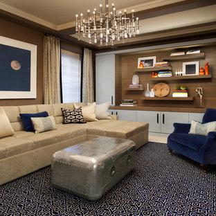 Idée de décoration pour une grand salle de séjour tradition ouverte avec un mur marron, moquette et un sol bleu.