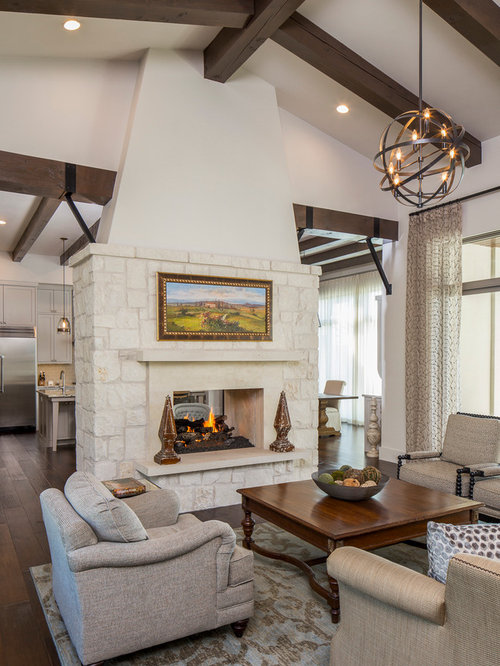 Best Farmhouse Family Room With A Two Sided Fireplace