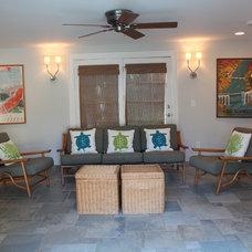 Tropical Family Room by Tara Veith Design, LLC
