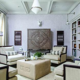 アトランタの中サイズのトランジショナルスタイルのおしゃれな独立型ファミリールーム (紫の壁、カーペット敷き、暖炉なし、内蔵型テレビ) の写真
