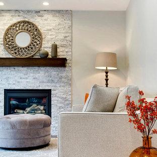 Foto de sala de estar cerrada, tradicional renovada, pequeña, con paredes grises, suelo de madera oscura, chimenea tradicional, marco de chimenea de piedra y televisor en una esquina