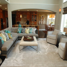 Transitional Family Room by R. Cartwright Design