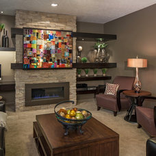 Transitional Family Room by D3 Interiors