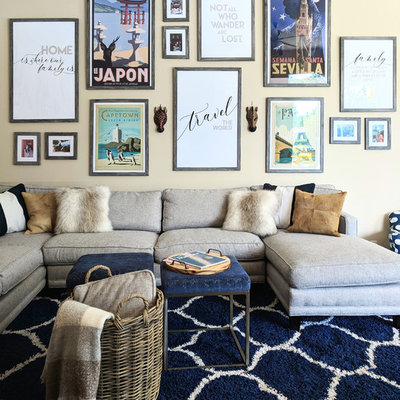 Transitional family room photo in Tampa with yellow walls