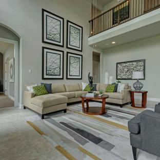 オースティンの大きいトランジショナルスタイルのおしゃれなファミリールーム (青い壁、磁器タイルの床、標準型暖炉、壁掛け型テレビ) の写真