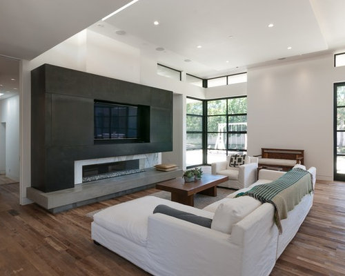 mid sized modern open concept medium tone wood floor family room idea in san diego