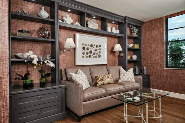 Transitional Family Room by Lisa Michael Interiors