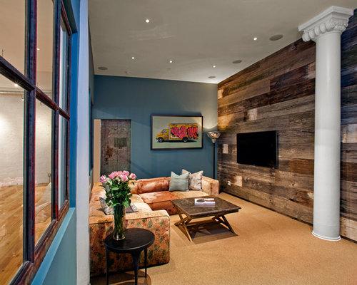 Barn board wall houzz - Wood walls in living room ...