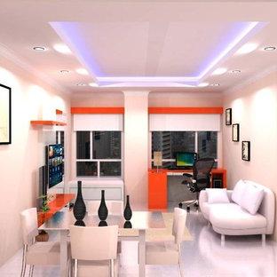 Ispirazione per un piccolo soggiorno moderno con pareti bianche, pavimento in gres porcellanato e TV a parete