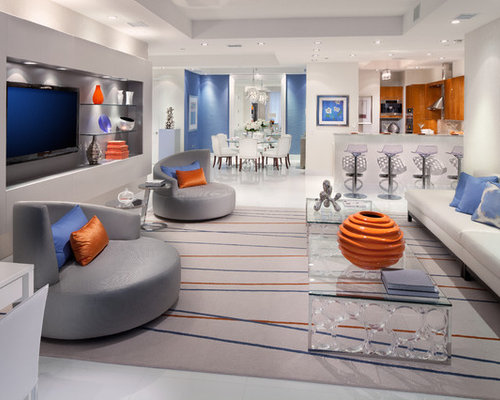 Blue And Orange Living Room Trendy White Floor Family Photo In DC Metro With Walls A Wall