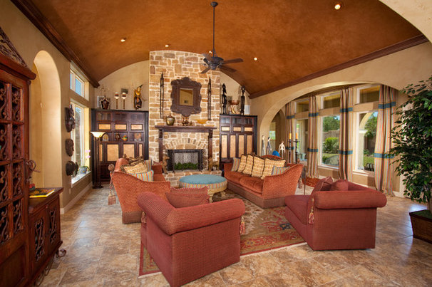 Mediterranean Family Room by Jim Boles Custom Homes