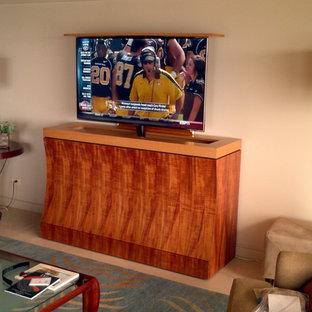 Cette photo montre une salle de séjour moderne de taille moyenne et ouverte avec un téléviseur dissimulé.